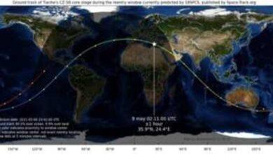 مسار الصاروخ الصيني مع اقتراب موعد سقوطه